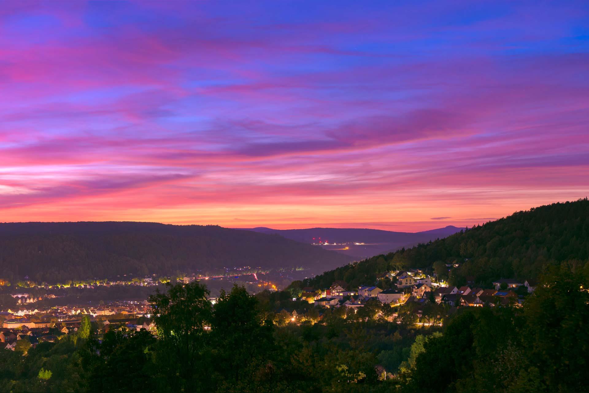 Landschaftsfotografie - Meiningen im Abendrot